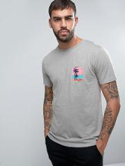 marl t shirt with hoxton wave print chest pocket