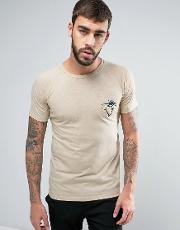 marl t shirt with triangle print chest pocket