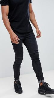 muscle fit cropped jeans in black