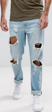Slim Fit Jeans With Busted Knees