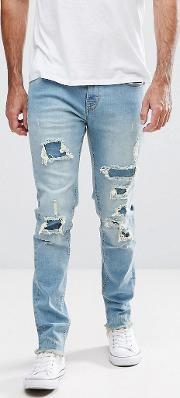 Slim Fit Jeans With Heavy Rips