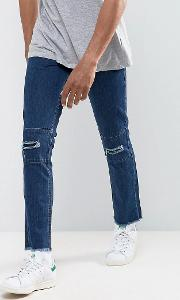 vintage cropped patchwork slim fit jeans with raw hem and rips