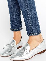 arianna silver leather loafers
