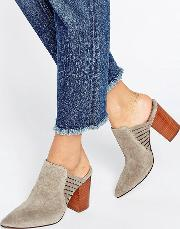 audny taupe suede heeled mules