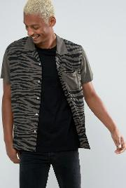 zebra print shirt  regular fit