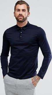 demons slim fit mercerised long sleeve polo shirt in navy