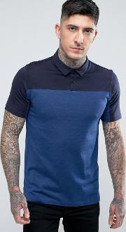 domfort slim fit block mercerised polo shirt