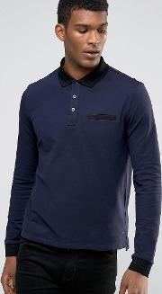 Hugo By  Boss Long Sleeve Polo Contrast Collar & Cuff
