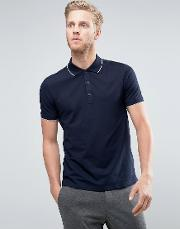 Hugo By  Boss Polo Tipped Stretch Slim Fit In Navy
