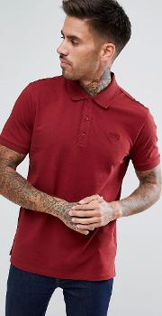 Hugo Pique Logo Polo Shirt In Burgundy