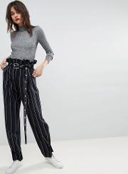 stripe peg trouser with eyelet belt