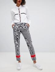 tailored check trousers with contrast stripe