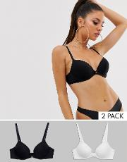 2 Pack Padded T Shirt Bra