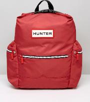 Large Logo Nylon Backpack In Red
