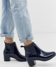 Mid Heel Glossy Chelsea Welly Boot