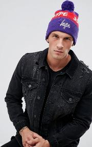 bobble beanie in purple with logo