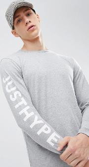 long sleeve t shirt with  print  grey