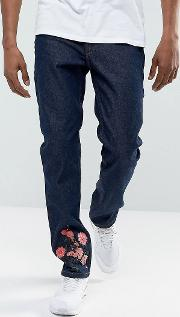 skinny jeans  blue with floral embroidery
