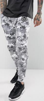 Skinny Joggers  Grey With Leaf Print