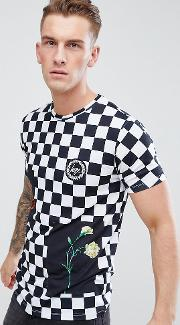 t shirt in checkerboard exclusive to asos