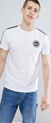 t shirt with side stripe in white