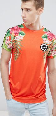 t shirt with tropical print  red