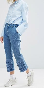 mom jeans with frill trim