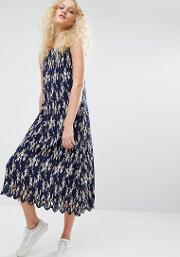 pleated cami dress in floral print
