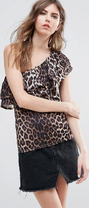 One Shoulder Frill Sleeve Leopard Print Top