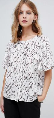 Printed Blouse With Cape Sleeves