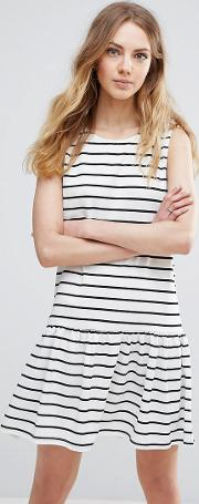 striped drop hem dress