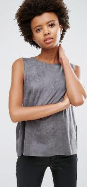 V Neck Suede Sleeveless Top