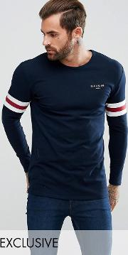 Muscle Long Sleeve T Shirt In Blue With Stripes