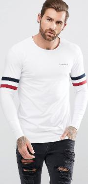Muscle Long Sleeve T Shirt In White With Stripes