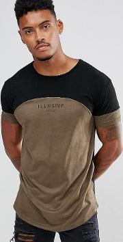 Muscle T Shirt In Khaki Suedette