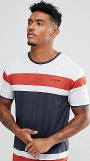 muscle t shirt in white with stripes