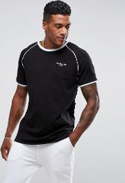poly t shirt in black with piping