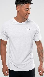 poly t shirt in grey with piping