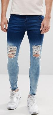 Super Skinny Jeans With Blue Fade And Distressing