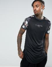 t shirt in black with floral sleeves