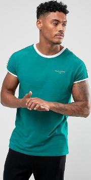 t shirt in teal with taping