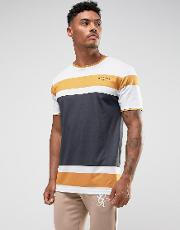 T Shirt In White With Stripes