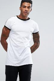 t shirt in white with taping