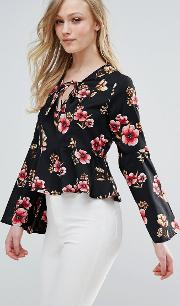 Flare Sleeve Floral Top