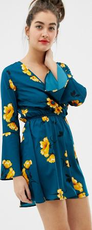 Flared Sleeve Wrap Floral Print Dress