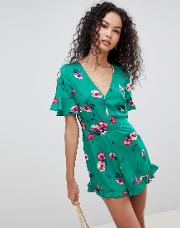 Floral Print Playsuit With Ruffle Shorts