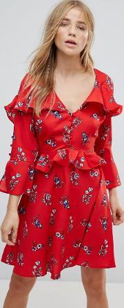 Frill And Button Detail Floral Tea Dress
