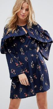 Frill Keyhole Front Floral Dress