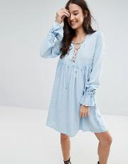 lace up smock dress