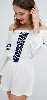 Off Shoulder Embroidered Beach Playsuit